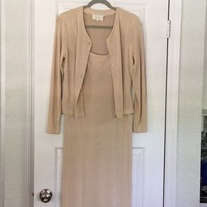Cache long knit dress with jacket